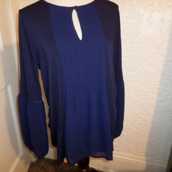 August Silk Navy White Striped Pleated-Back Sleeveless Dress size XL
